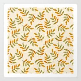 Autumn rustic green brown watercolor leaves pattern Art Print