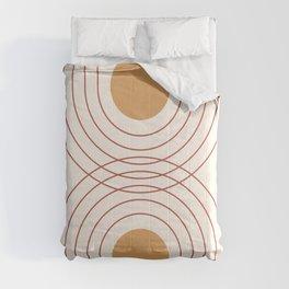Mid Century Modern Geometric 51 in Terracotta Gold Beige Comforters