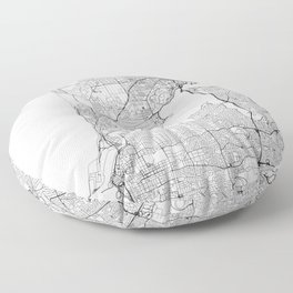 Perth White Map Floor Pillow