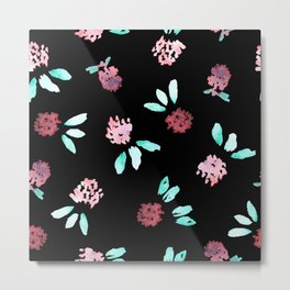 Clover Flowers on Black Metal Print