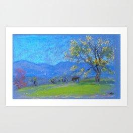 Landscape With Yellow Tree - Arthur Bowen Davies Art Print