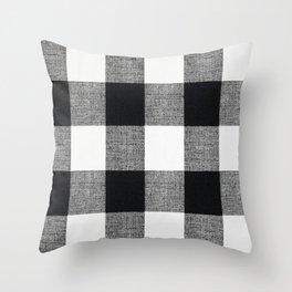 Black and White Buffalo Throw Pillow