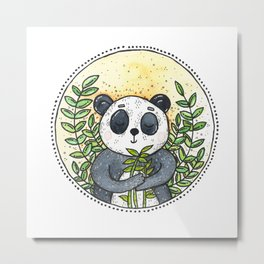 Watercolor Panda Metal Print