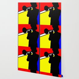 Jazz trombone player silhouette mondrian colors Wallpaper