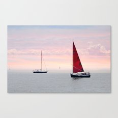Red Sail in the Mist Canvas Print