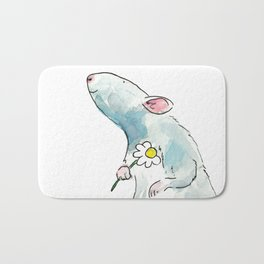 Woodland mouse with a flower Bath Mat
