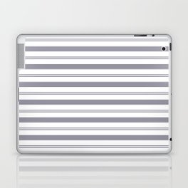 Pantone Lilac Gray and White Stripes, Wide and Narrow Horizontal Line Pattern Laptop & iPad Skin