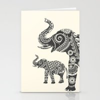 ornate elephant Stationery Cards featuring Elephant by famenxt