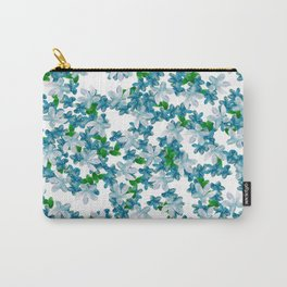 Summer Blues, Floral Pattern Carry-All Pouch