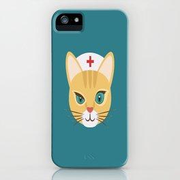 Nurse Cat ~ Teal iPhone Case