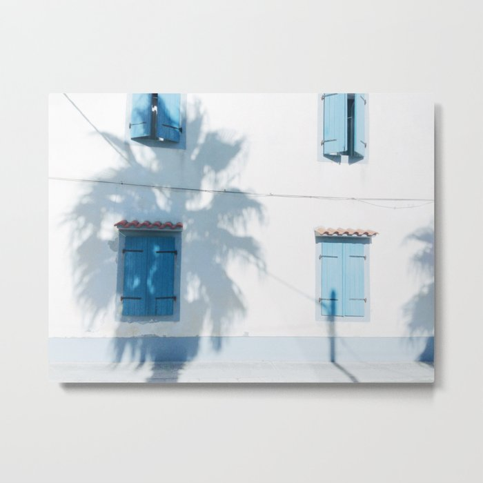 Blue windows and a palm Metal Print