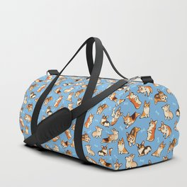Jolly corgis in blue Duffle Bag