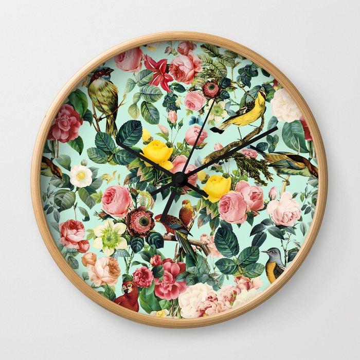 Floral and Birds III Wall Clock