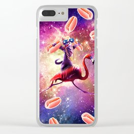 Thug Space Cat On Flamingo Unicorn With Hot Dog Clear iPhone Case