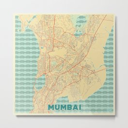 Mumbai Map Retro Metal Print