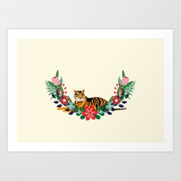 Tiger and flowers Art Print