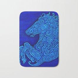 Blue Celtic Horse Abstract Spirals Bath Mat