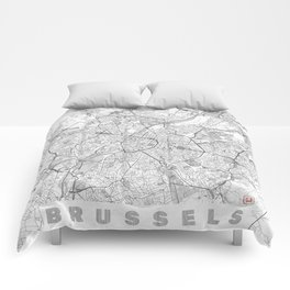 Brussels Map Line Comforters