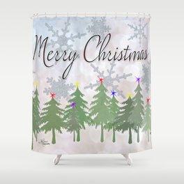 Merry Christmas Glittery Snowy Pine Trees Shower Curtain
