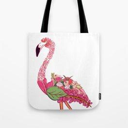 Flowered Flamingo Tote Bag