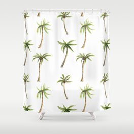 Watercolor palm trees pattern Shower Curtain