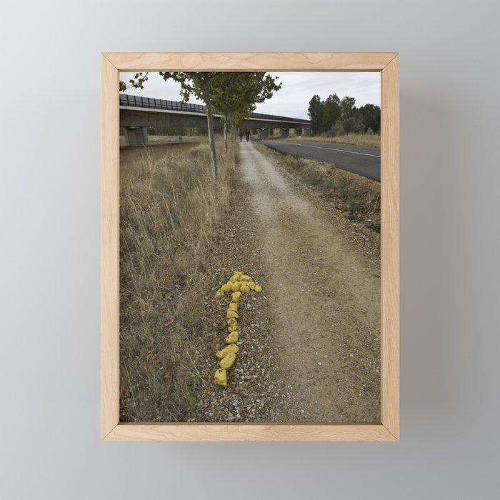 Yellow Arrow of the Camino Framed Mini Art Print