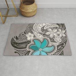 Teal Hawaiian Floral Tattoo Design Rug