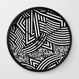 Dazzle Camouflage QR Code to Nowhere Wall Clock