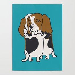 Basset Hound Hugs Poster