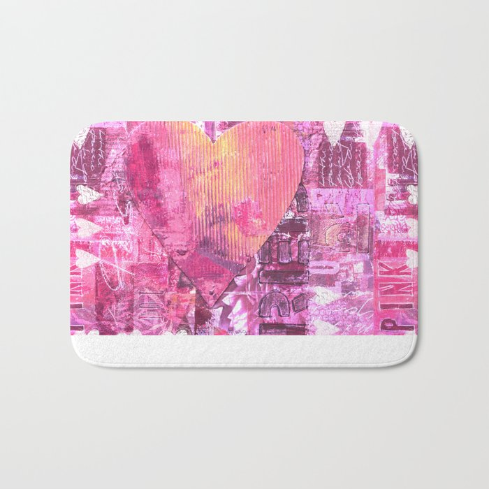 Pink hand painted  heart collage Bath Mat