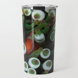 Maroon Anemonefish resting in its green anemone Travel Mug