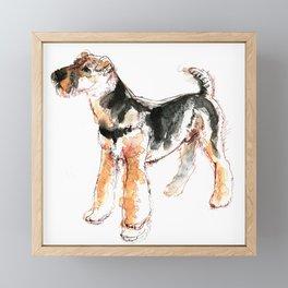 Airedale Terrier Watercolor #2 Framed Mini Art Print
