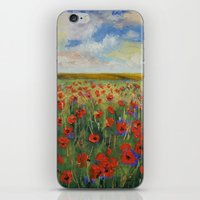 poppies iPhone & iPod Skins featuring Poppies by Michael Creese