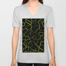 Abstract Yellow and Black Unisex V-Neck