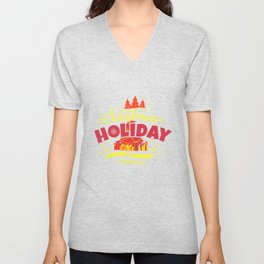 Christmas Holiday Merry & Bright yr Unisex V-Neck