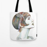 gatsby Tote Bags featuring Carey Gatsby by ShayMacMorran
