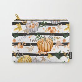Autumn orange pumpkins, flowers, leaves, striped background. Vintage seamless pattern. Fall season illustration. October harvest. Organic vegetable garden food. Nature design. Thanksgiving day Carry-All Pouch