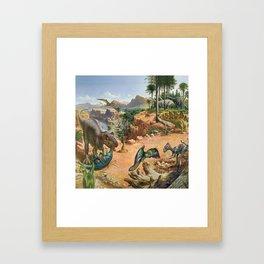 Jurassic dinosaurs fighting Framed Art Print