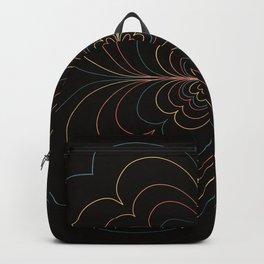 Heart Floral Line Art In Vintage Colors on Black Backpack