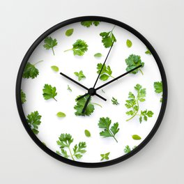 Herbs on White - Landscape Wall Clock