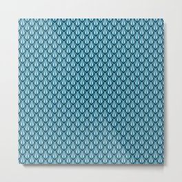 Gleaming Blue Metal Scalloped Scale Pattern Metal Print