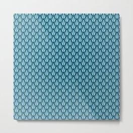 Gleaming Blue Metal Scalloped Scale Pattern Metal Print