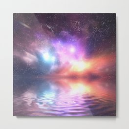 Colorful universe reflected in water Metal Print