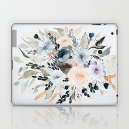 Loose Blue and Peach Floral Watercolor Bouquet  Laptop & iPad Skin