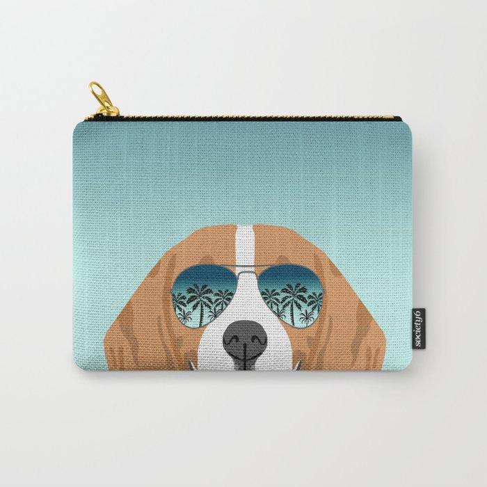 Tropical Beagle illustration cute palm trees sumer sunglasses dog design Carry-All Pouch