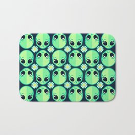 Sad Alien and Daisy Nineties Grunge Pattern Bath Mat