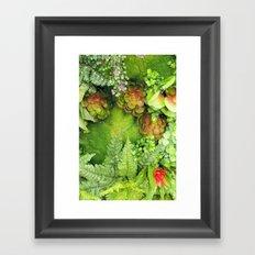 Green Fireworks Framed Art Print