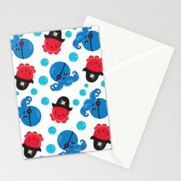 Pirate Octopus, Octopus Pattern, Sea Animals Stationery Cards