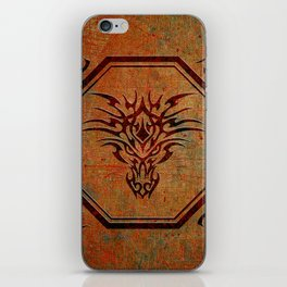 Tribal Dragon Head In Octagon With Dragon Chinese Characters iPhone Skin