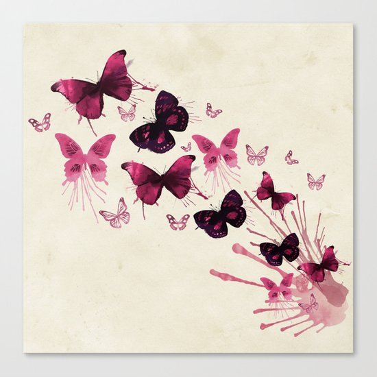 Butterflies Watercolor Canvas Print